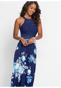 Długa sukienka z kwiatowym nadrukiem i koronką bonprix ciemnoniebiesko-lila-jasnoróżowy. Kolor: niebieski. Materiał: koronka. Wzór: kwiaty, nadruk, koronka. Długość: maxi