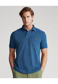 Ralph Lauren - RALPH LAUREN - Granatowa koszulka polo Mesh. Typ kołnierza: polo. Kolor: niebieski. Materiał: mesh. Długość: długie. Wzór: haft, ze splotem
