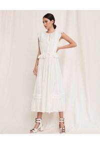 TwinSet - TWINSET - Sukienka z angielskim haftem. Typ kołnierza: kołnierz z falbankami. Kolor: biały. Materiał: tkanina, jeans. Długość rękawa: na ramiączkach. Wzór: haft. Sezon: lato. Typ sukienki: rozkloszowane. Długość: midi