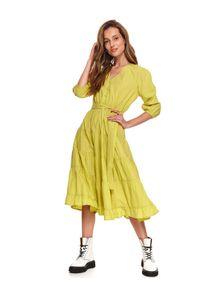 TOP SECRET - Sukienka midi z paskiem. Kolor: żółty. Sezon: lato. Długość: midi