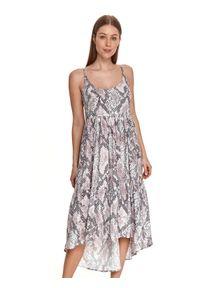 TOP SECRET - Sukienka midi na ramiączkach, w wężowy nadruk. Kolor: beżowy. Materiał: materiał. Długość rękawa: na ramiączkach. Wzór: nadruk. Sezon: lato. Długość: midi