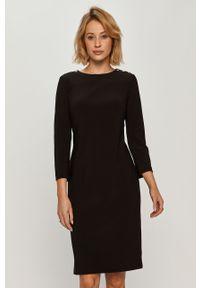 Czarna sukienka Lauren Ralph Lauren dopasowana, z okrągłym kołnierzem