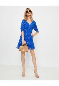 SELF PORTRAIT - Niebieska sukienka mini w kropki. Okazja: na wesele, na ślub cywilny, na komunię. Kolor: niebieski. Materiał: satyna, koronka. Wzór: kropki. Typ sukienki: dopasowane. Styl: elegancki. Długość: mini