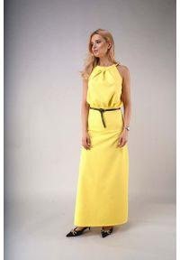 Żółta sukienka wizytowa Nommo elegancka, z dekoltem na plecach, maxi