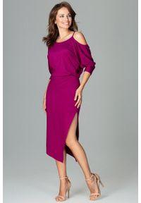 e-margeritka - Sukienka asymetryczna z kimonowym rękawem fuksja - XXXL. Kolor: różowy. Materiał: poliester, wiskoza, materiał, elastan. Sezon: jesień. Typ sukienki: asymetryczne. Długość: midi