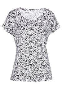 Shirt bonprix biało-czarny z nadrukiem. Kolor: biały. Wzór: nadruk