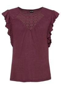 Shirt z koronkową wstawką bonprix ciemny jeżynowy. Kolor: fioletowy. Materiał: koronka. Wzór: koronka