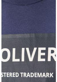 Niebieski t-shirt s.Oliver z okrągłym kołnierzem, na co dzień, casualowy, z nadrukiem