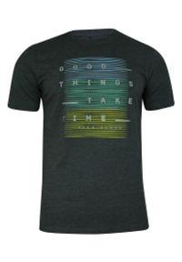 Pako Jeans - T-shirt Grafitowy, Szary, 100% Bawełna, z Nadrukiem, Męski, Krótki Rękaw, U-neck -PAKO JEANS. Okazja: na co dzień. Kolor: szary. Materiał: bawełna. Długość rękawa: krótki rękaw. Długość: krótkie. Wzór: nadruk. Styl: casual