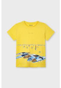 Pomarańczowy t-shirt Mayoral casualowy, na co dzień, z nadrukiem