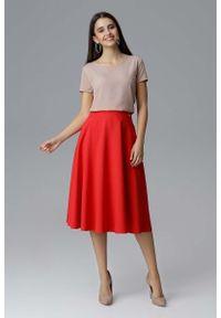 Figl - Czerwona Rozkloszowana Spódnica Midi na Pasku. Kolor: czerwony. Materiał: poliester
