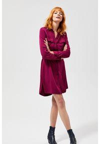 Czerwona sukienka MOODO casualowa, do pracy, prosta