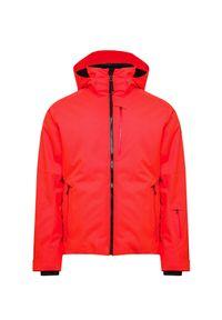 Czerwona kurtka narciarska Bogner w kolorowe wzory