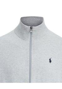 Ralph Lauren - RALPH LAUREN - Szara bluza z suwakiem. Typ kołnierza: polo, golf. Kolor: szary. Materiał: prążkowany. Wzór: haft