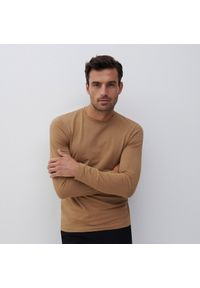 Reserved - Bluzka z długim rękawem Basic - Beżowy. Kolor: beżowy. Długość rękawa: długi rękaw. Długość: długie