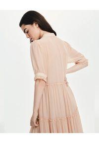LOVLI SILK - Maxi sukienka z jedwabiu nude #No.16. Kolor: beżowy. Materiał: jedwab. Typ sukienki: rozkloszowane. Długość: maxi