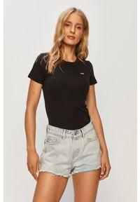 Levi's® - Levi's - T-shirt. Okazja: na spotkanie biznesowe. Kolor: czarny. Wzór: aplikacja. Styl: biznesowy