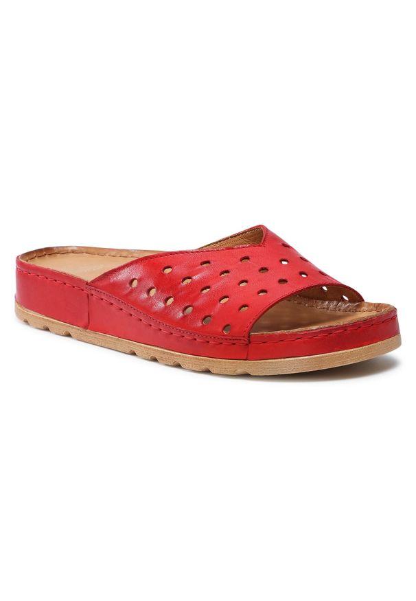 Łukbut - Klapki ŁUKBUT - 1818-065 Czerwony. Okazja: na co dzień. Kolor: czerwony. Materiał: skóra. Sezon: lato. Styl: casual