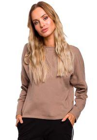 MOE - Kakaowa Bazowa Bluzka Oversize z Dekoltem na Plecach. Kolor: brązowy. Materiał: bawełna, elastan