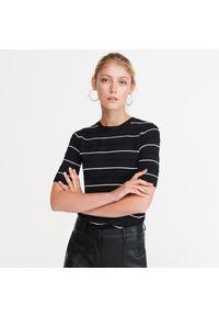 Czarny sweter Reserved krótki, z krótkim rękawem