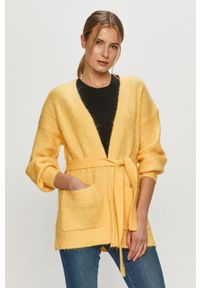 Vero Moda - Kardigan. Okazja: na co dzień. Kolor: żółty. Materiał: dzianina, poliester. Długość rękawa: długi rękaw. Długość: długie. Styl: casual