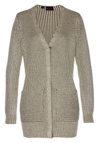 Zielony sweter bonprix długi, klasyczny, melanż