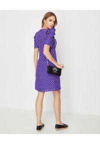 Kenzo - KENZO - Fioletowa sukienka z wiskozą i lnem. Kolor: różowy, wielokolorowy, fioletowy. Materiał: wiskoza, len. Wzór: aplikacja. Sezon: lato. Typ sukienki: trapezowe. Długość: mini