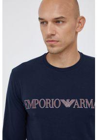 Emporio Armani Underwear - Piżama. Kolor: niebieski. Materiał: dzianina. Długość: długie. Wzór: nadruk