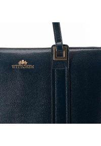 Wittchen - Shopperka ze skóry lizard z długimi uchwytami. Kolor: niebieski. Wzór: kolorowy, haft, aplikacja, gładki. Dodatki: z haftem. Materiał: skórzane. Styl: biznesowy, elegancki. Rodzaj torebki: do ręki