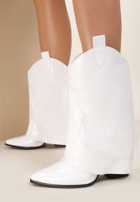 Białe botki na obcasie Renee
