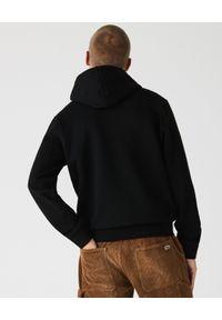Lacoste - LACOSTE - Czarna bluza z kapturem. Okazja: na co dzień. Typ kołnierza: kaptur. Kolor: czarny. Materiał: jeans, bawełna, prążkowany. Wzór: aplikacja. Styl: sportowy, casual