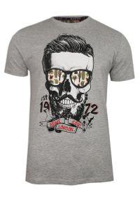 Brave Soul - Szary T-Shirt (Koszulka) z Nadrukiem -BRAVE SOUL- Męski, Okrągły Dekolt, Brodacz, Barber, Hipster. Okazja: na co dzień. Kolor: szary. Materiał: wiskoza, bawełna. Wzór: nadruk. Styl: casual