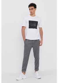 Hugo - T-shirt bawełniany. Okazja: na co dzień. Kolor: biały. Materiał: bawełna. Wzór: nadruk. Styl: casual
