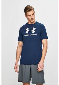 Under Armour - T-shirt. Okazja: na co dzień. Kolor: niebieski. Materiał: dzianina. Wzór: nadruk. Styl: casual