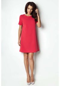 IVON - Czerwona Sukienka Trapezowa z Krótkim Rękawem. Kolor: czerwony. Materiał: wiskoza, elastan. Długość rękawa: krótki rękaw. Typ sukienki: trapezowe