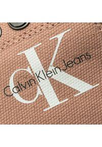 Różowe półbuty Calvin Klein Jeans na sznurówki, z cholewką, eleganckie