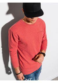 Ombre Clothing - Bluza męska bez kaptura B1149 - czerwona - XXL. Typ kołnierza: bez kaptura. Kolor: czerwony. Materiał: bawełna, jeans, materiał, poliester. Wzór: melanż