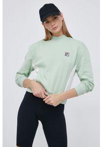 Fila - Bluza. Kolor: zielony. Długość rękawa: długi rękaw. Długość: długie. Wzór: aplikacja