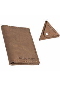 Skórzany zestaw portfel i bilonówka BRODRENE SW03 + CW01 jasnobrązowy. Kolor: brązowy. Materiał: skóra