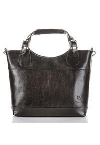 Skórzana torebka damska czarna PAOLO PERUZZI GA309. Kolor: czarny. Materiał: skórzane. Rodzaj torebki: do ręki