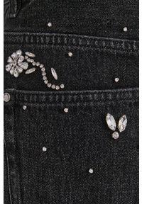 Miss Sixty - Szorty jeansowe. Okazja: na co dzień. Stan: podwyższony. Kolor: szary. Materiał: jeans. Wzór: aplikacja. Styl: casual