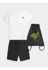 4f - Komplet sportowy szybkoschnący chłopięcy. Kolor: wielokolorowy. Materiał: dzianina, materiał. Wzór: nadruk. Styl: sportowy