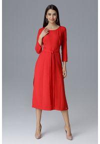 e-margeritka - Klasyczna sukienka midi wiązana w talii czerwona - l. Okazja: do pracy, na spotkanie biznesowe. Kolor: czerwony. Materiał: materiał, poliester. Typ sukienki: proste. Styl: klasyczny. Długość: midi