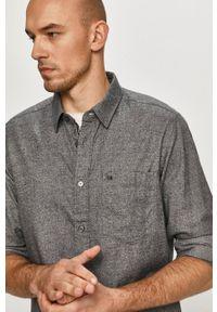 Calvin Klein - Koszula bawełniana. Typ kołnierza: kołnierzyk klasyczny. Kolor: szary. Materiał: bawełna. Styl: klasyczny