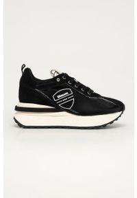 Czarne buty sportowe Blauer na średnim obcasie, na koturnie, z okrągłym noskiem, z cholewką