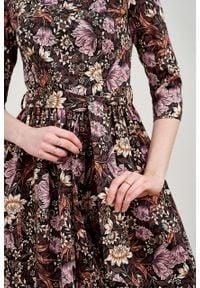 Marie Zélie - Sukienka Melia Hortus. Typ kołnierza: kokarda. Materiał: materiał, bawełna, skóra, elastan, wiskoza. Styl: klasyczny