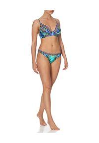 Camilla - CAMILLA - Dół od bikini z kryształami. Kolor: niebieski. Materiał: materiał. Wzór: paski, aplikacja