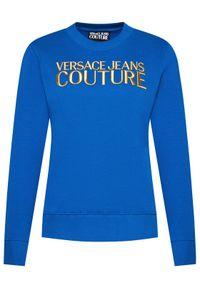 Versace Jeans Couture Bluza Logo Embro 71HAIT01 Niebieski Regular Fit. Typ kołnierza: kołnierzyk włoski. Kolor: niebieski