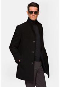 Lancerto - Płaszcz Czarny Morgan. Kolor: czarny. Materiał: bawełna, jeans, materiał, wełna, syntetyk, włókno, skóra, poliester. Styl: klasyczny