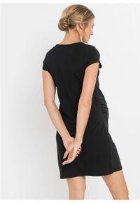 Koszula nocna ciążowa i do karmienia bonprix czarny z nadrukiem